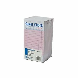 Royal Pink Guest Check Board 1 Part Booked With 15 Lines Package Of 10 Books