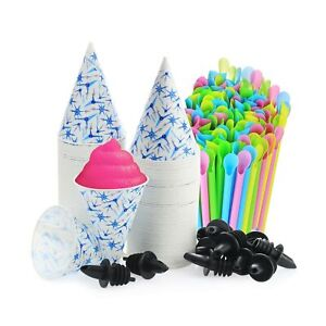 Set Of 406 200 Snow Cone Cups 6 Oz And 200 Sno cone Spoon Drinking Straws