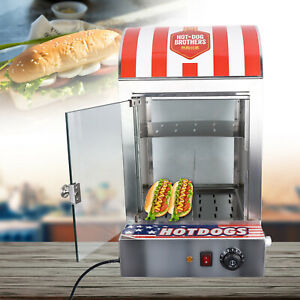 Commercial Hot Dog Steamer Warmer Machine Electric Countertop 110v 1500w Usa