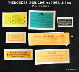 Mercedes 190sl 220s Chassis Engine Decal Set New Ponton 219 190