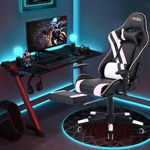 Racing Gaming Chair Recliner Footrest Swivel Computer Desk Chairs Home Office