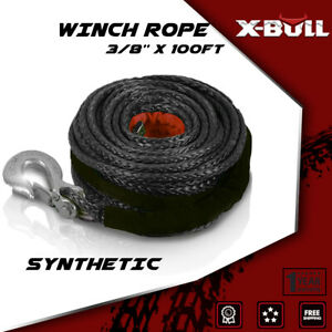 X bull 3 8 x100ft 23000lbs Synthetic Winch Cabe Rope Atv Recovery Black 4wd