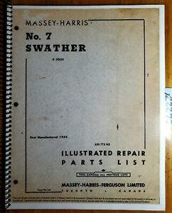 Massey Harris 7 Swather Windrower Illustrated Parts Repair List Manual 6 55 sup