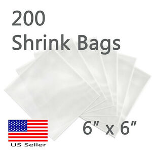 200 Pcs Shrink Wrap Bags 6 x 6 Candles Soaps Bath Bombs Small Gift Pvc Film