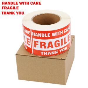 3 X 5 Fragile Handle With Care Thank You Stickers Labels Warning 500 Per Roll