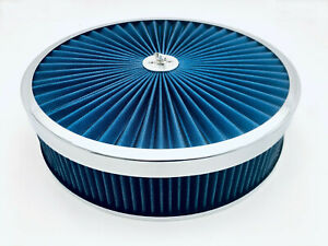 Air Cleaner Set 14 X 3 Super Flow Washable Blue Extraflow Holley Edelbrock Aed