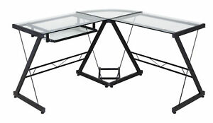 Onespace 50 jn110500 Ultramodern Glass L shape Desk Black And Clear