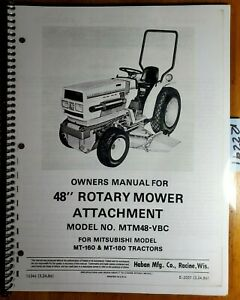 Haban Mtm48 vbc 48 Mower For Mitsubishi Mt160 Mt180 Tractor Oper Parts Manual