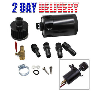 Universal 3 port Oil Catch Can Tank Baffled Reservoir W Drain Valve Breather