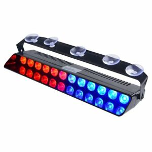 12led Blue red Emergency Strobe Dashboard Windshield Light Police Hazard Warning