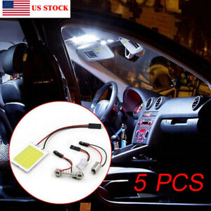 5x White 48 Smd Cob Led T10 4w 12v Car Interior Panel Light Dome Lamp Bulb Set