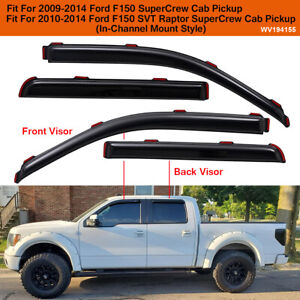In Channel Window Vent Visors Sun Rain Guards For 2009 2014 Ford F150 Supercrew