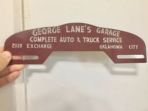 Vtg Antique George Lane Oklahoma City Mopar Chevy Ford License Plate Topper