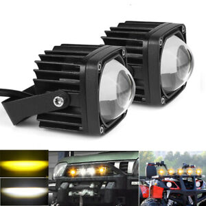 2x 2 20w Led Work Light Pods Amber White Driving Fog Offroad For Jeep Suv Atv