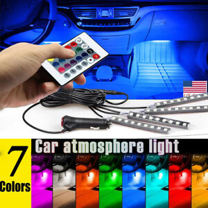 Rgb Led Glow Car Interior Lamps Under Dash Footwell Seats Inside Lighting