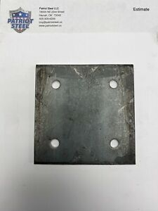 4pc Of 1 4 Steel Plate 1 4 X 5 X 5 A36 Steel With Holes For 3 8