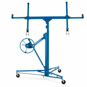 11 Drywall Panel Rolling Lifter Dry Wall Hoist Jack Caster Lockable Tool Blue