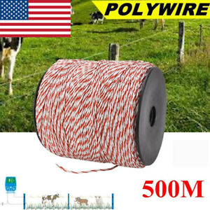 500m White red New Electric Livestock Fence Wire Stainless Steel Conductive Rope