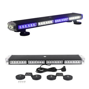 27 Blue White Led Strobe Light Bar Warning Emergency Beacon Roof For Vehicles