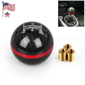 Universal Carbon Fiber Ball Manual Mt Gear Blue Stripe Shift Shifter Knob Mugen