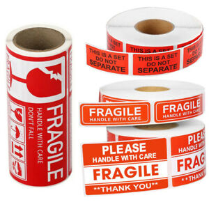Handle With Care Fragile Warning Labels Do Not Bend Postage Stickers Seals Boxes