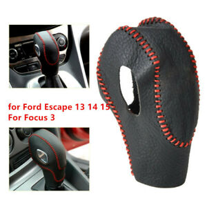 Leather Car Gear Shift Knob Cover Protector For Ford Escape 13 14 15 Focus 3