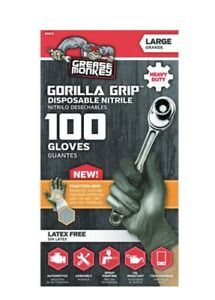Grease Monkey Gorilla Grip Large Heavy Duty Nitrile Glove Latex Free 100ct