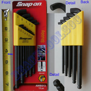 New Snap On 13 Pcs L Shape Stubby Ball Hex Wrench Set 050 3 8 Awbs13 Yellow