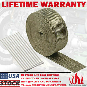 2 50ft Roll Titanium Header Turbo Pipe Manifold Exhaust Heat Wrap Tape 10 Ties