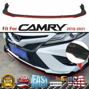 For 2018 21 Toyota Camry Se Xse Jdm Style Gloss Black Front Bumper Lip Red Trim