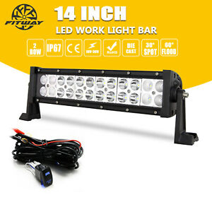 1214inch Led Light Bar Work Spot Flood Combo Driving Truck Atv Wiring For Jeep