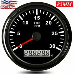 85mm Car Boat Lcd Digital Tachometer 0 3000rpm Tacho Meter Rpm Gauge Waterproof