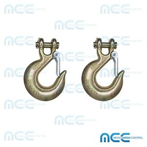 2 Pack 3 8 G70 Clevis Slip Hooks W Latch Safety Chain Hook Tow Truck Tie Down