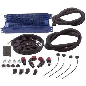 13 Row Trust Oil Cooler Thermostat Sandwich Plate Kit 7 Electric Cooling Fan