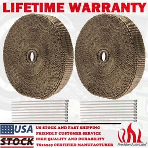 2 Rolls X Titanium Pipe Header Manifold Exhaust Heat Wrap Tape 20 Ties 1 X 50ft