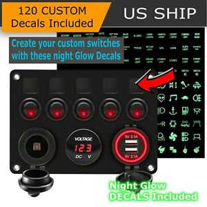 5 Gang Red Led Light On off Toggle Switch Control Panel For Car Boat Marine Rv