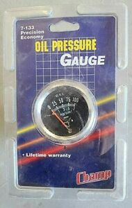 Vintage Nos Champ 2 Mechanical Oil Pressure Gauge 0 100 7 133 Chevy Gm Ford