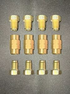 3 16 Line 10mm X 1 0 Inverted Flare Brake Line Fittings Brass Unions 12 Pcs
