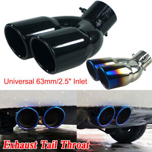 2 5 Universal Car Inlet Dual Rear Muffler exhaust Tip Throat Tail Pipe Outlet