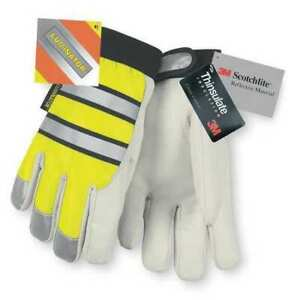 Mcr Safety 968m Leather Gloves m high Visibility Yellow pr