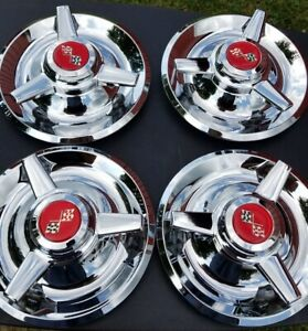 Chevy Rally Wheel Center Caps Tri Bar 4 Chrome Plated Stainless Steel Red