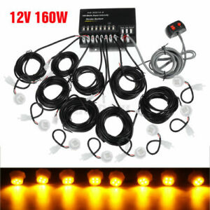 White Amber 8 Pc Hid Hide away 160w Emergency Strobe Light Kit For Car Truck