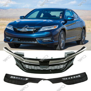 For 2016 2017 Honda Accord Chrome Sport Style Front Grille Led Fog Lights