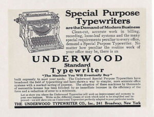 Underwood Typewriter Vintage 1909 Standard Model Reprint 8 X 10 Ad Print