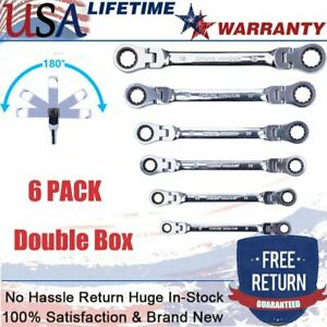 6 Pack Double Box End Ratcheting Wrench Flex head Extra Long Spanner Set Metric