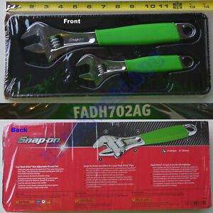 New Snap On Green Cushion Flank Drive Plus Adjustable Wrench 2 Pcs Set Fadh702ag