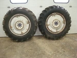 1959 Ford 871 Tractor Power Adjust Spin Out Rims W Tires 13 6 28 Goodyear 800