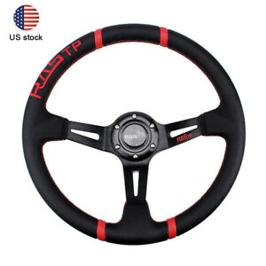 Steering Wheel 6 Bolt 350mm Deep Dish Suede Leather Sport Racing Drifting