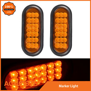 2x Amber 6 Oval 21 Led Truck Trailer Stop Turn Signal Tail Light W Grommet Plug