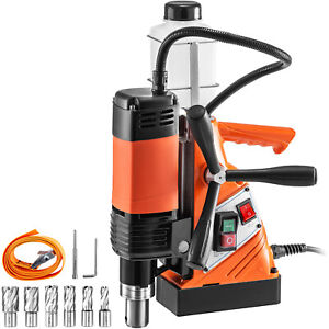 Vevor Magnetic Drill Press Magnetic Base Drill 10kn 1100w 6 Cutter 35mm Boring